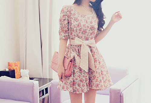 bag, bow, cute, dress, fashion, floral, girly, pink