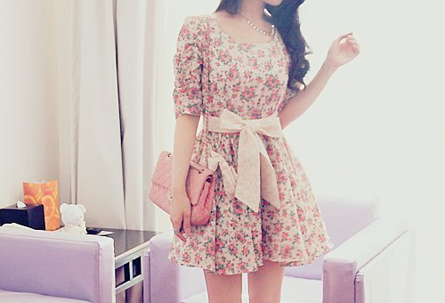 bag, bow, dress, floral, girl, pink