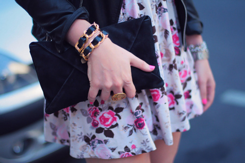 bag, bracelets, dress, fashion, flowers