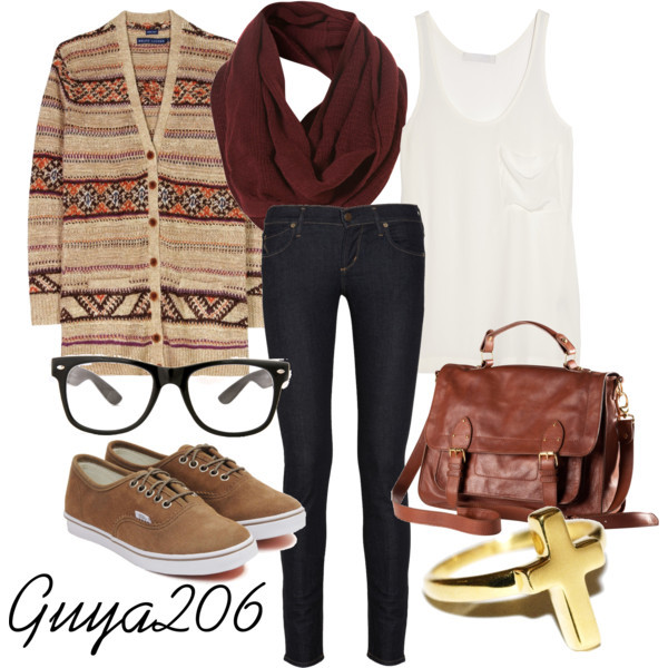 bag, brown, cardi, cardigan, clothes, cross, fashion, jeggings, leather, polyvore, red, ring, scarf, tank, tee, vans