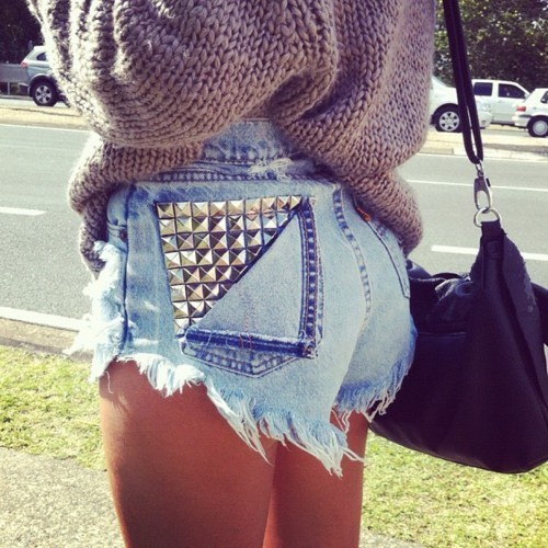 bag, bum, denim, fashion, knit, legs, purse, shorts, studded, studs, style, sweater, tan