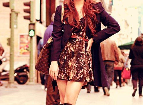bag, coat, cute, dress, fashion, hair, sparkly