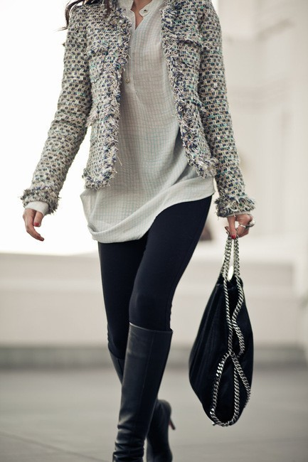 bag, couture, fashion, heels, jacket, jeggings, leggings, outfit, purses, street style, style