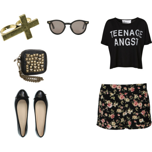 bag, cute, fashion, girl, glass, love, polyvore, shoes, style, t shirt