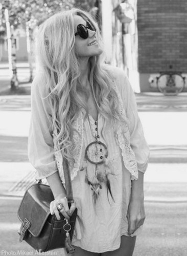 bag, dreamcatcher, dress, fashion, girl, hair, laugh, smile, sun glasses