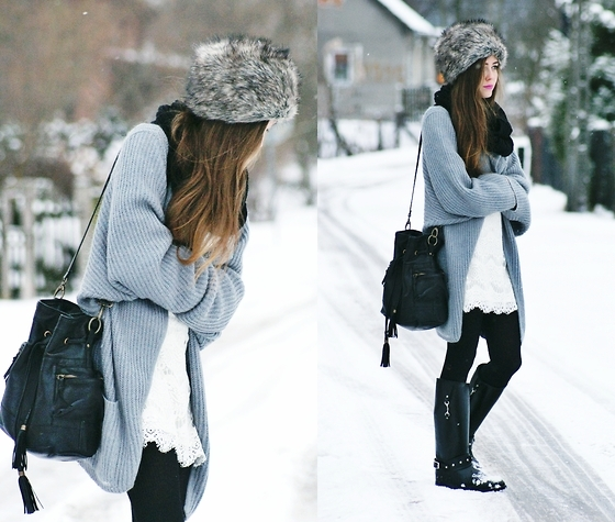 bag, dress, fashion, fur, girl