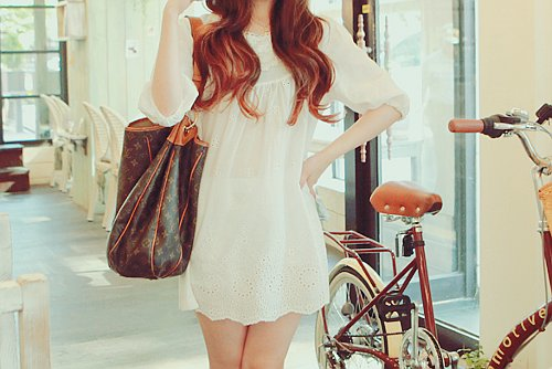 bag, dress, fashion, hair