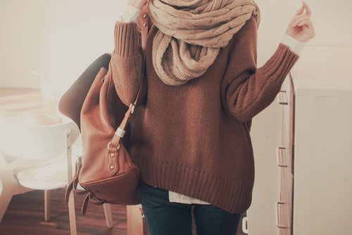 baggy, brown, fashion, girl, leather, loose, photograph, scarf, style, sweater