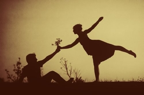 ballerina, flower, love, photography, sepia