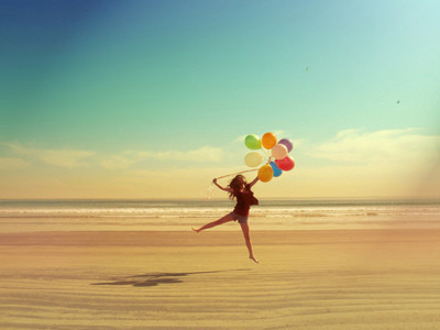balloons, beach, girl, sea, summer