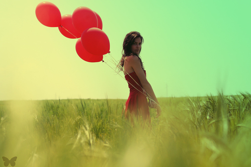 balloons, beautiful, girl