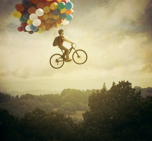 balloons, bike, cute, fantasy, flying, photography, trees