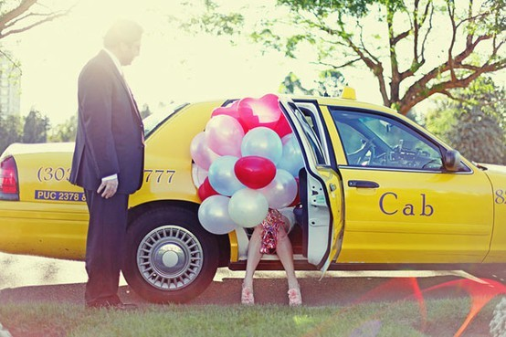 balloons, cab, cute, summer, yellow