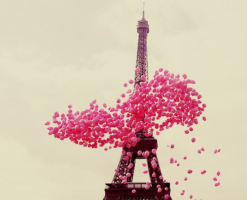 balloons, eiffel tower, love, paris, pink, vintage