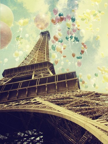 baloon, blue, city, copule, cute, eifel, eiffel, fashion, france, girl, love, nice, paris, tower