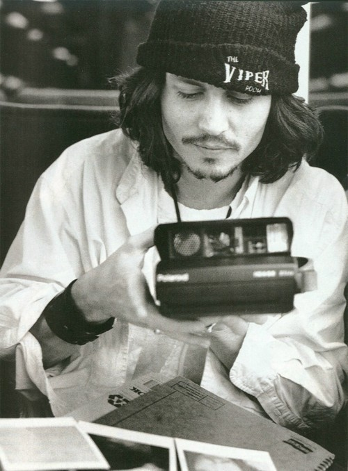 b&w, beanie, beard, beautiful, black and white, boy, boys, camera, depp, hat, hot, johnny depp, sexy, wonderful