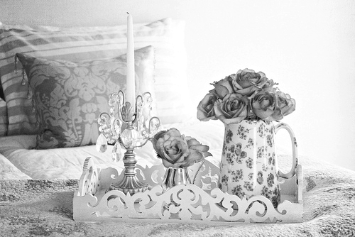 b&w, bed, bedroom, black & white, black and white, candle, cute, floral, flower, flowers, girly, photo, photography, pillow, room, roses