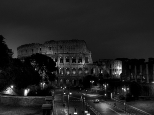 b&w, black & white, black and white, city, coliseum, cute, italy, landscape, light, lights, night, photo, photography, rome, sky, street