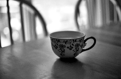 b&w, black & white, black and white, coffee, cup, cute, floral, photo, photography, place, tea, vintage