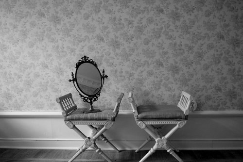b&w, black & white, black and white, cute, floral, girly, mirror, photo, photography, place, vintage