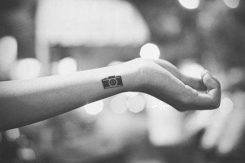 b&w, black and white, bokeh, camera, camera tattoo
