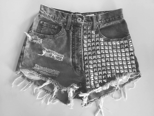 b&w, black and white, clothing, denim, fashion, jeans, rivet, rivets, short, shorts, studded, studs