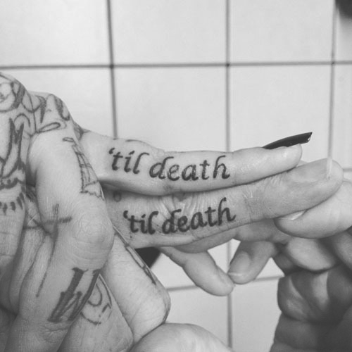 b&w, black and white, couple, death, finger, fingers, hand, hands, love, tattoo, tattooed, tattoos