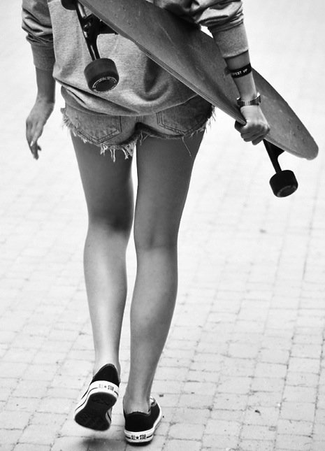 b&w, black and white, girl, longboard, longboard girl
