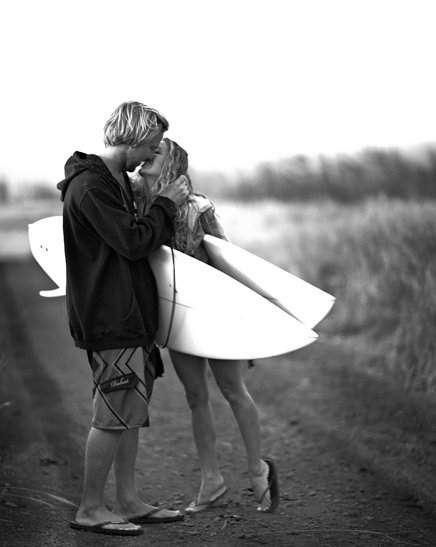 b&w, black and write, boy, cute, girl, hair, image, kiss, male, perfect, photo, photography, picture, pretty, surf