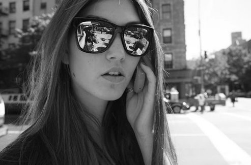 b&w, cute, fashion, girl, hair, long hair, phone, sunglasses