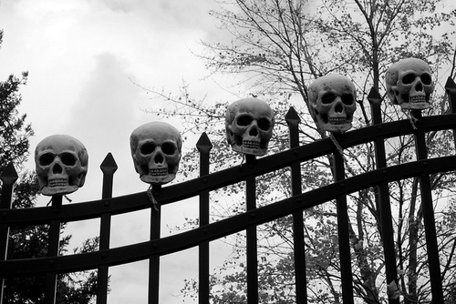 b&amp;w, gate, goth, skulls