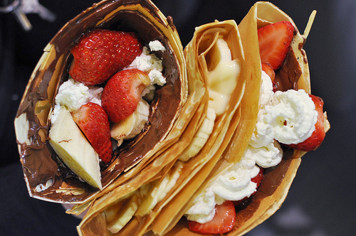 banana, chocholate, cream, crepes, food, good, nutella, red, strawberries, whipped cream, white, yellow, yum
