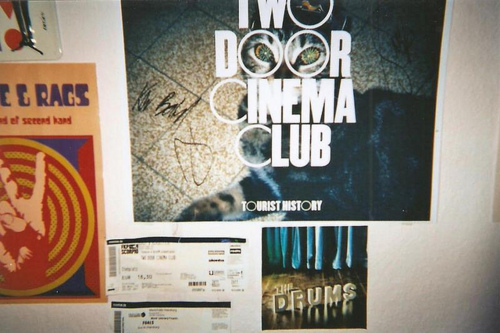 band, cute, hipster, indie, poster, posters, room, signed, the drums, two, two door cinema club, wall