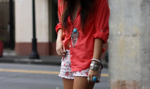 bangles, bracelets, color, colour, coral, fashion, floral, girl, jewellery, legs, necklace, outfit, rings, shorts, style