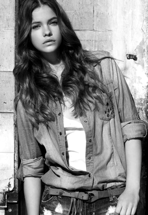 barbara palvin, black and white, fashion, girl, hair