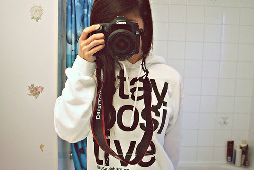 bathroom, brunette, camera, canon, cute