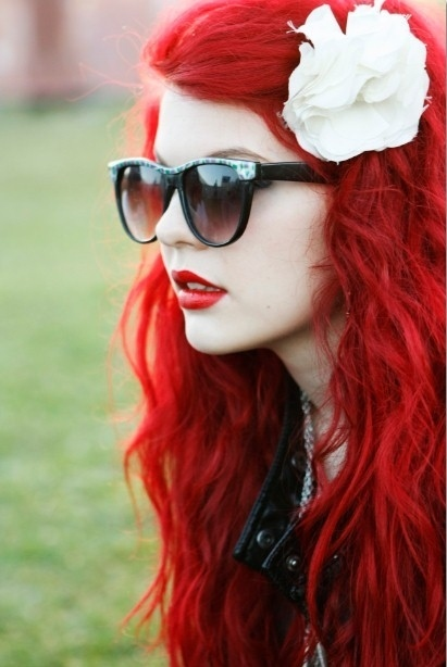 batom, black, cabelo, fashion, fashionperfil, flower, girl, glasses, hair, red, redhead, veautiful, vermelho, white