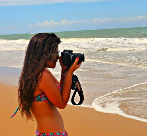 beach, beautiful, bikini, brunette, camera, hair, neon, ocean, pretty, vacation