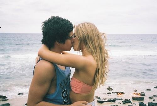 beach, beautiful, blonde, boy, couple, cute, girl, kiss, nice