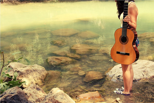 beach, beautiful, carefree, converse, girl, guitar, music, ocean, photograph