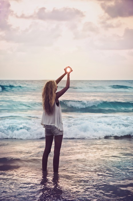 beach, beautiful, girl, hair, ocean, photography, sea, summer, sun, sunrise, water