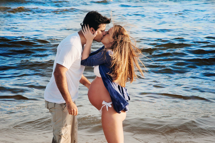 beach, belly, couple, kiss, preggy