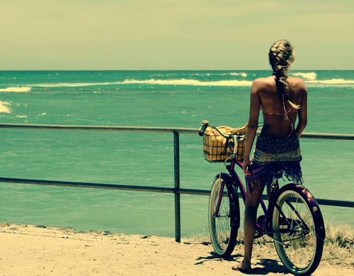 beach, bike, girl, summer