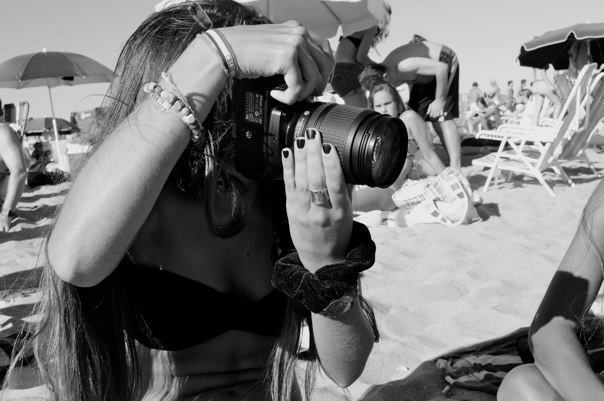 beach, bikini, black and white, camera, girl, hair, hand, model, people, summer