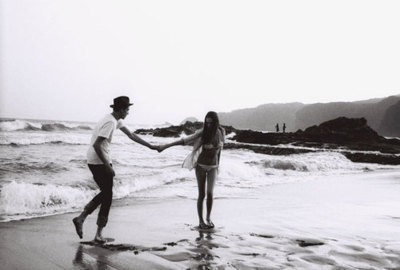 beach, black and white, boy, couple, cute
