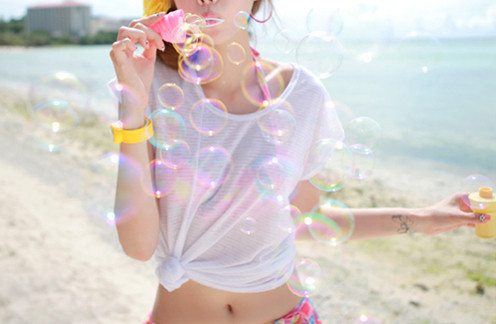 beach, blonde, bubbles, colour, cute