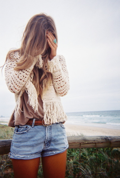 beach, blonde, cool, cute, denim, fashion, girl, jeans shorts, ocean, photography, sea, shorts, style, water
