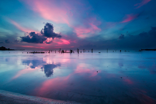 beach, blue, clouds, pink, water