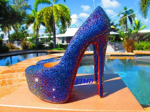 beach, blue, electric blue, glitter, heels crystals