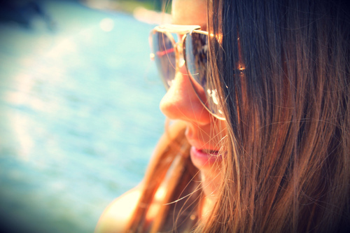 beach, brunette, cute, girl, pretty, summer, sunglasses